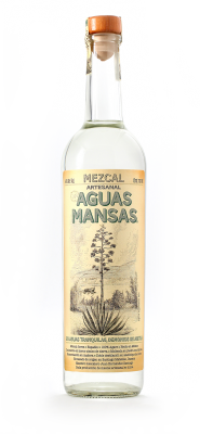 Etiqueta de la botella mezcal aguas mansas
